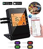 Drahtloses Fleischthermometer, digitales Koch Thermometer mit Sonde und großem LCD-Display, Bluetooth-BBQ-Thermometer mit app-Control-Alarm Monitor für Grill Raucher, Küchen Kochofen.4 pack