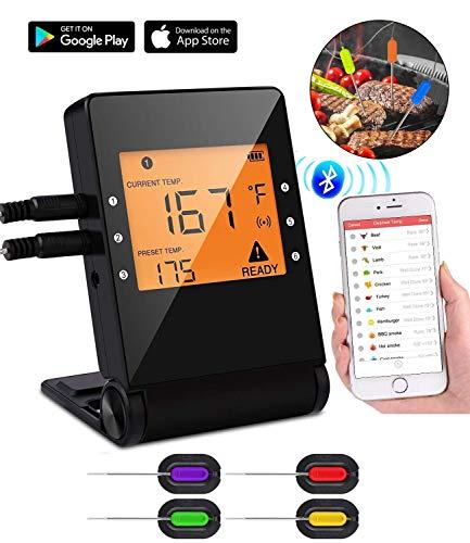 Tooklanet Termómetro de cocinar con Sondas Inteligente Bluetooth,Termómetros para Carne BBQ con LCD...