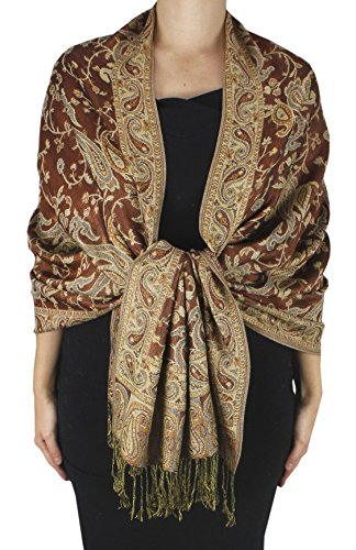 Womens Brown Importiert (Peach Couture Women's Elegant Reversible Floral Paisley Pashmina Feel Shawl Wrap Brown)