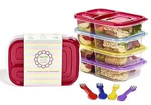 [Packung mit 4] Mehrfarbig Umweltfreundlich 3 Fach Brotdose Behälter mit farblich passendem Löffel und Gabel, Mikrowellengeeignet, Spülmaschinenfest und Wiederverwendbar von Daisy Homeware