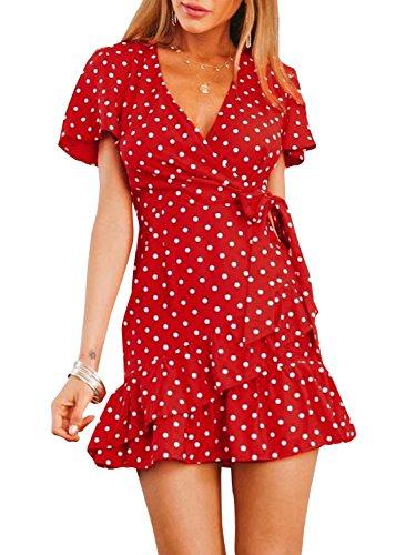 Terryfy Damen Knielang Kleid Elegant mit Schleife A-Linie Volant Gepunktet V-Ausschnitt Mini Dress Sommerkleid