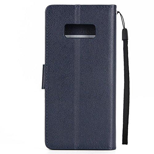Klassische Premiu PU Ledertasche, Horizontale Flip Stand Case Cover mit Cash & Card Slots & Lanyard & Soft TPU Interio Rückseite für Samsung Galaxy S8 ( Color : White ) Darkblue