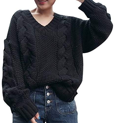 Azbro Women's V Neck Loose Fit Vintage Thicken Sweater Black
