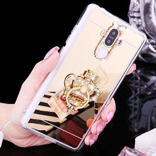 Huawei P9 Coque,Huawei P9 Housse Diamant,ETSUE Mode Luxe Miroir Bling Glitter Huawei P9 Silicone Coque Luxueux Crystal Scintiller Doux Coque Bague, Huawei P9 Etui Coque Rose Romantique Élégant Fleur C Couronne Or