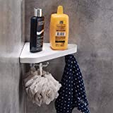 Aquieen Premium ABS Wall Shelve With Hook for Bathroom and Kitchen