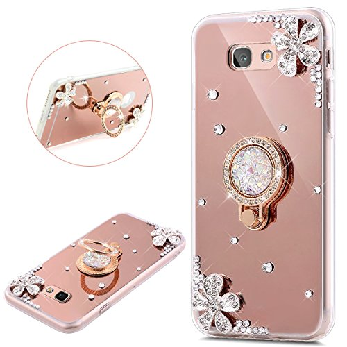 JAWSEU Samsung Galaxy A3 2016 Coque Transparent Glitter,Samsung Galaxy A3 2016 Etui en Silicone Clair avec Pailletee,Brilliante Bling Étoile Soft Tpu Case Cover,Ultra Slim Sparkle Scintillant Bling Une Fleur Diamant Flexible Souple Gel Housse Etui Ring Stand Holder TPU Téléphone Coque Coquille de protection Homme Femme Cristal en Silicone Caoutchouc Coque Coquille Cas Éclat Tpu Clear Case Cover Transparente Extra Slim Doux Gel Protecteur Coque Couverture-rose or
