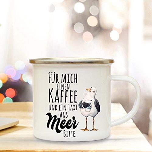 ilka parey wandtattoo-welt Emaille Becher Camping Tasse maritim Möwe & Spruch Motto Kaffee und EIN Taxi ans Meer Bitte Kaffeetasse Geschenk eb117 (Wandtattoo Möwen)