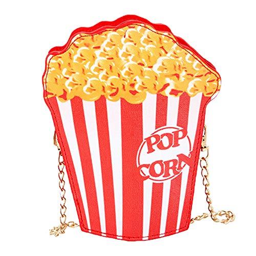 Kostüm Bilder Popcorn - Setsail Hamburger Pommes frites Popcorn niedliche Cartoonein-Schulter-Diagonalkettenkleine Tasche Damen Mädchen Nette Popcorn Kuriertaschen Handtaschen Beutel Beutel PU-Leder (Popcorn)