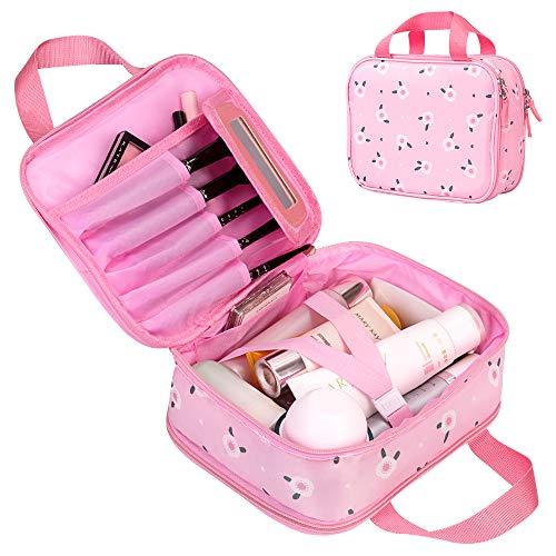 Kosmetiktasche,Tragbare Make Up Tasche,Reise Schminktasche Kosmetikbeutel Make Up Etui Kulturtaschen Wasserdicht Aufbewahrungstasche Doppelschicht mit Spiegel für Damen Mädchen Rosa -