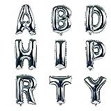 NUOLUX 18-Zoll-Alphabet Buchstaben Ballons Happy Birthday Party Dekoration Aluminium Folie Membran Ballon (Silber) - 3