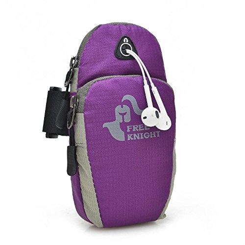 Sporthülle Taschen Wasserdicht Multifunktional Running Armbag für Samsung Galaxy iPhone 6& 6S Plus, violett - Mp3-player Belt Pouch