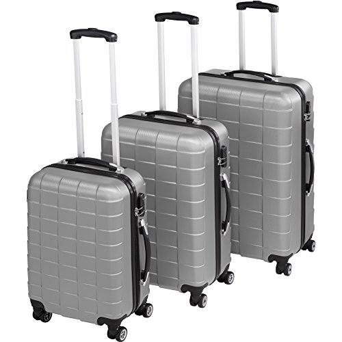 TecTake 3 teiliges ABS Reisekofferset Trolley Hartschalenkoffer | 4 Rollen 360 Grad - diverse Farben (Silber | Nr. 402672)