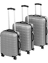 TecTake Set de 3 valises de voyage de ABS   avec serrure à combinaison intégrée   poignée télescopique   roulettes 360° - diverses couleurs au choix (Argent  no. 402672)