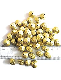 Matt Gold Finish Beads For Jewellery Making, Craft Works, Pack Of 150 Nos