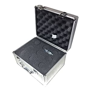 """Telescope Eyepiece Case - Quality Aluminium case - Foam-padded interior - (1.25""""/31.7mm format) with laser cut foam - Takes 9 eyepieces - Supplied with 2 keys. - Box Size 280 x 220 x 160mm"""