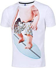 Mose Men's Spoofed Jacket Casual Funny Baby 3D Printing Short Sleeve O-Neck T-Shirt Top Blouse Medium White