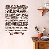 Autocollant Cuisine Espagnole Cuisine Règle Vinyle Sticker Mural Autocollant Mural Mur Artiste Résidence Décoratif Carrelage Maison Décoration 40X60 Cm Brun
