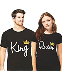 Hangout-Hub King Queen Printed Men Women Tshirts 100% Cotton Casual Half Sleeve Round Neck Black Color For Couples...