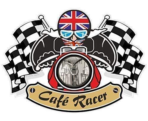 Vintage Cafe Racer Ton Biker UP, motivo: bandiera britannica 'Union Jack' per bicicletta vinile auto-adesivo vinilico per casco, 90 x 65 mm