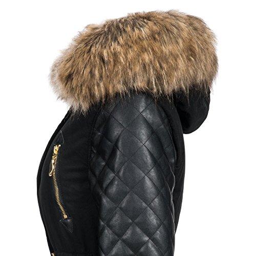Navahoo Damen Mantel Wintermantel Winterparka Sara (vegan hergestellt) 2 Farben XS-3XL Schwarz