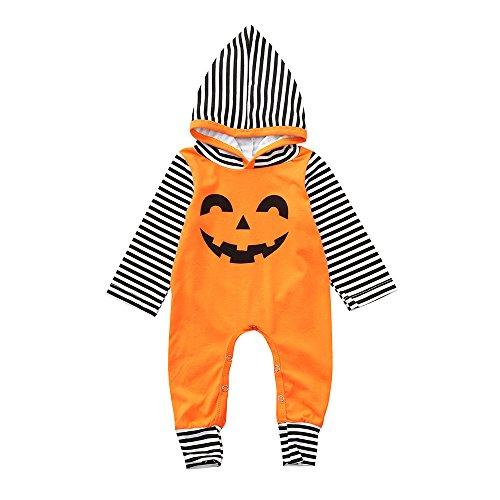 OverDose Damen Kleinkind Infant Baby Mädchen Jungen Mit Kapuze Strampler Overall Halloween Lächeln Logo Cosplay Dance Rave Kostüm ()