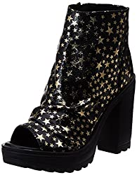 Knotty Derby Womens Delacour Peep Toe Black Boots - 6 UK/India (39 EU)