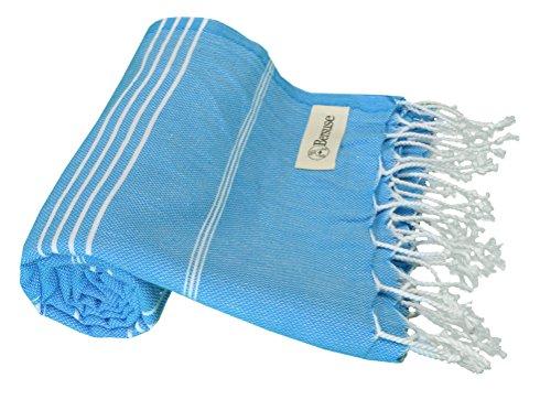 Bersuse 100% cotone - asciugamano turco anatolia - peshtemal fouta per bagno e spiaggia - pestemal classico striato - 95 x 175 cm, oceano blu