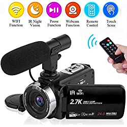 Caméscope Camescope 2.7K 30FPS WiFi Caméra de Vision Nocturne avec Microphone Externe Camescope Camera Video Full HD pour Youtube