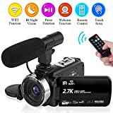 Camcorder Video Camera 2.7K 30FPS Wifi Vlogging Camera Night Vision Digital Camera with Microphone Vlog Blogging Video Camera for Youtube