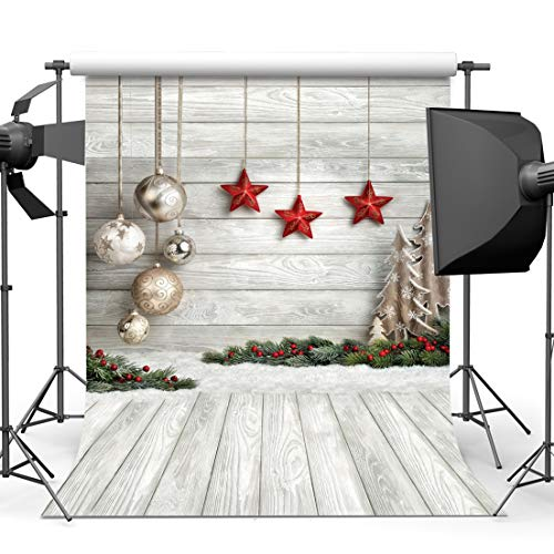 AIIKES 5x7FT/1,5Mx2,1M Weihnachten Sterne Thema Photography Hintergrund Requisiten Christmas Day Thema Fotografie Hintergrund Ball Weihnachten Decor 10-383 -