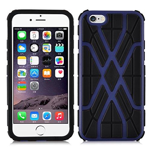 iPhone 6, JAMMYLIZARD Stoßfeste Back Cover Hülle mit verstärktem Kantenschutz für iPhone 6 & 6s 4.7 Zoll, GRAU VIOLETTBLAU