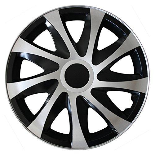(Größe wählbar) 16 Zoll Radkappen / Radzierblenden DRACO Bicolor (Schwarz-Silber) passend für fast alle Fahrzeugtypen - universal