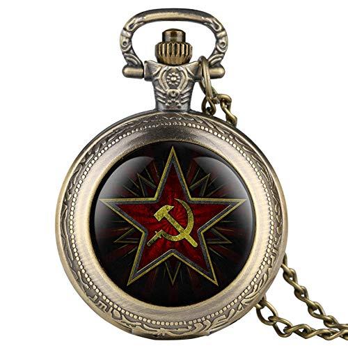 Emblema del partito pentagramma urss distintivi sovietici hammer falce orologio da tasca al quarzo nero esercito russo cccp orologio da comunismo orologio da polso unisex, bronzo retrò