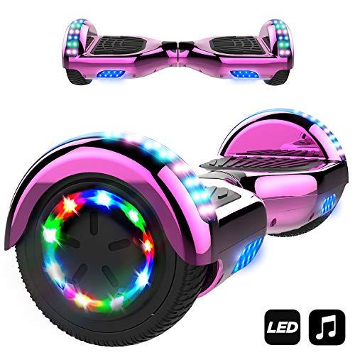 MARKBOARD Hover Scooter Board, Elektro Scooter 6,5 LED E-Balance E-Skateboard Elektroroller Bluetooth LED (LED rosa)