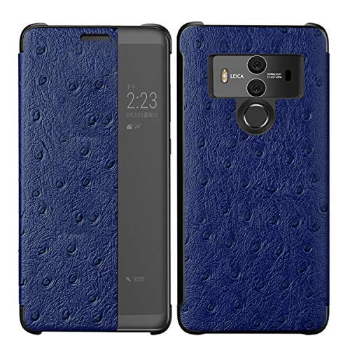 Luxury Classic Genuine Leather Case compatible with Huawei Mate 20 Pro, 3C-LIFE Premium Handmade Cow Cowhide Leather Ostrich Skin Pattern [Wireless Charging] Smart Wakeup/Sleep Case Folio Cover (Navy) - Genuine Ostrich Skin Leder