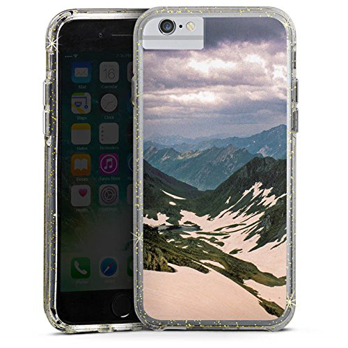 Apple iPhone 6 Plus Bumper Hülle Bumper Case Glitzer Hülle Berge Snow Schnee Bumper Case Glitzer gold