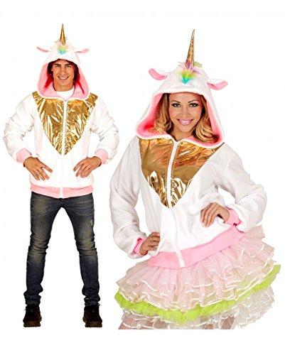 Weiße Una Hoodie Kind Einhorn Kostüm Das - Horror-Shop Weiße Einhorn Jacke mit goldglänzendem Einhorn auf der Kapuze S/M