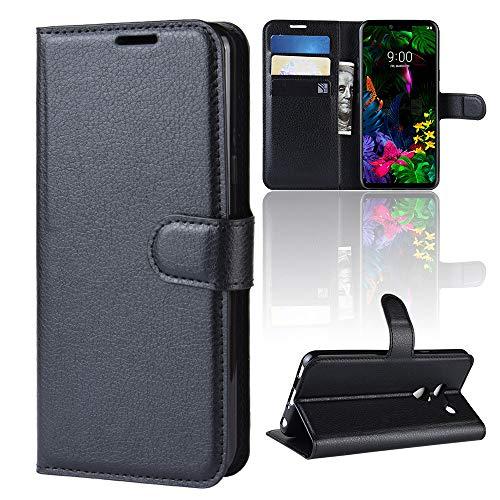 ROVLAK Hülle für LG G8 ThinQ Wallet Flip Case mit Kartenslot Stoßfeste Lichee Muster PU Leder Case+Innenseite TPU Silikon Hülle mit Kickstand Tasche für LG G8 ThinQ Smartphone Case,Schwarz