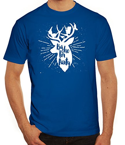 Junggesellenabschieds JGA Hochzeit Herren T-Shirt Hirsch - Bachelor Party Royal Blau