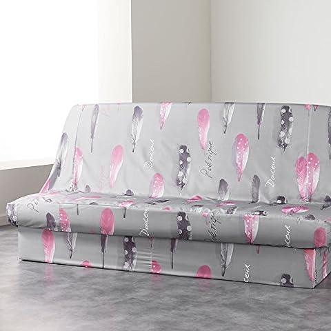 Douceur d'Intérieur Housse de Clic Clac Imprimé Poétique Polyester Gris 195 x 70 x 65 cm