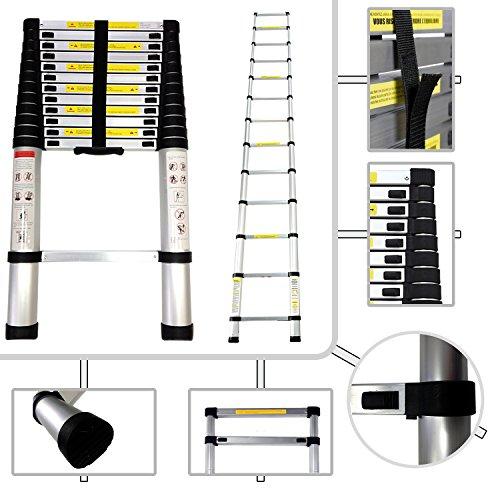 Todeco - Echelle Telescopique, Échelle Pliable - Charge maximale: 150 kg - Matériau: Alliage en aluminium - 3,8 mètre(s), EN 131