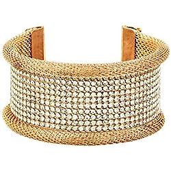 Zeneme Designer American Diamond Gold Plated Kada Bangle Jewellery For Women / Girls