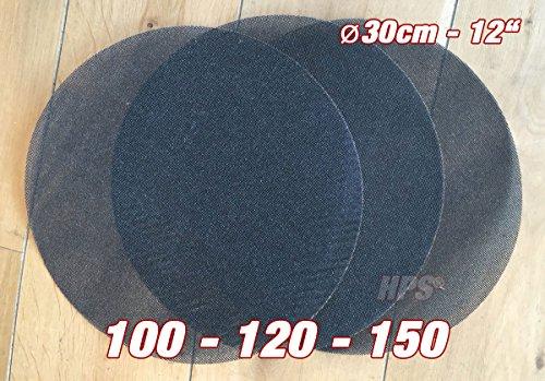 HPS® 3Stück Schleifnetz - Schleiffolge 100-120-150 Schleifnetz - Ø 30cm - Schleifnetz für Einscheibenmaschine zb Floorboy xl 300 - Schleifen von- Holz usw.