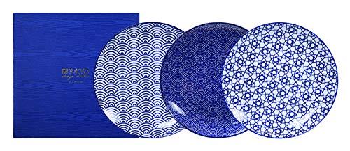 Tokyo Design Studio, 3 Assiette en porcelaine, Diamètre 26cm - Coffret de 3, Nippon Blue