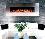 DIGITAL FLAMES Electric Fire 50 & 60 Inch Premium Branded LED Stainless Steel Glass Wall Mounted Electric Fire Remote Control 1500Kw 7 Colour Side Lights with New 10 Colour Flame Lights 2019