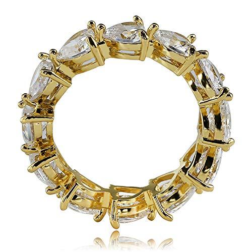 d Silber Farbe voll Bling 1 Zeile Herz Ring CZ Hochzeit Zirkon Hohl Engagement Hip Hop Schmuck Geschenke,Gold,8 ()