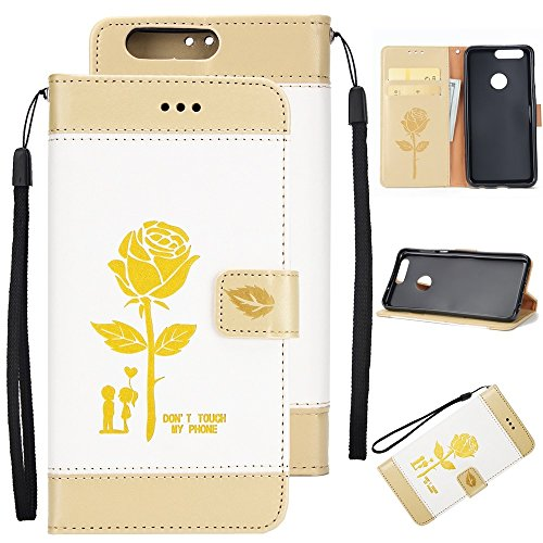 EKINHUI Case Cover Dual Color Matching Premium PU Leder Flip Stand Case Cover mit Card Cash Slots und Lanyard für Huawei Hornor 8 ( Color : Gold ) White