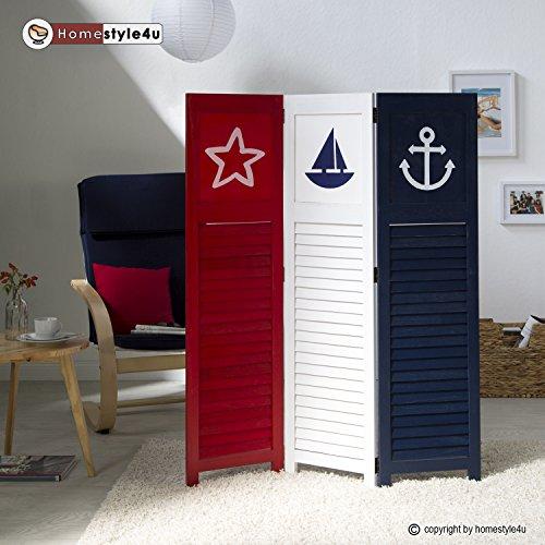 Shoji Screen Raumteiler (Homestyle4u 1824 Paravent Raumteiler 3 teilig 3-fach Holz Trennwand Spanische Wand Sichtschutz Weiß Blau Rot blickdicht zusammenklappbar maritimes Motiv Sea)