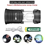 HIKUIBU Portable Ultra Bright Water-Proof LED Camping Light Lantern Tent Light Bulb Lamp with Solar Panels Rechargeable USB Cable 18650 Lipo Battery for Camping Hiking Fishing
