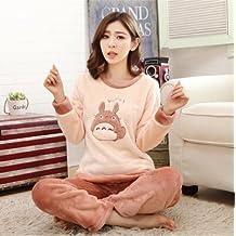 MH-RITA Otoño Invierno pijamas de franela engrosamiento mujer dormir hembra Coral Fleece Cartoon Pajama
